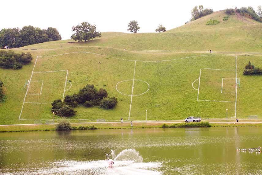 up-hill soccer field