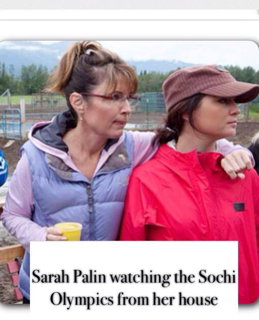 sarah palin watching sochi at home