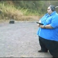 huge guy with gun