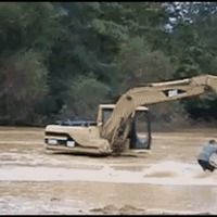 excavator waterski