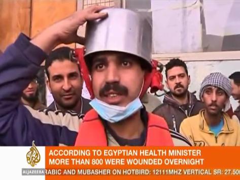 egyptian protester improvised helmet