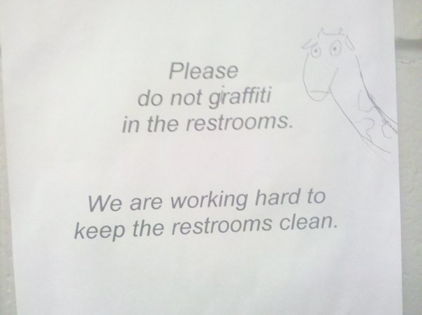 no graffiti in bathroom
