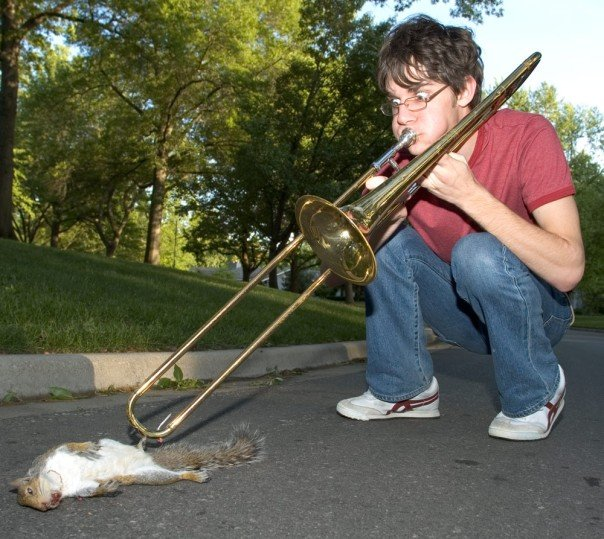 squirrel killed by trombone