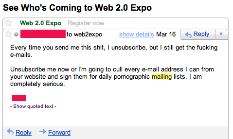 spam e-mail response