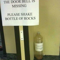 please shake bottle of rocks