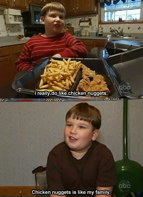chicken nuggets is like my family