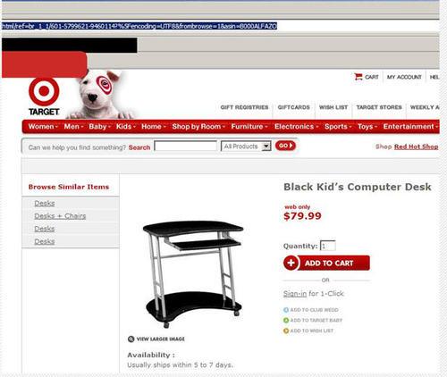black kids computer desk