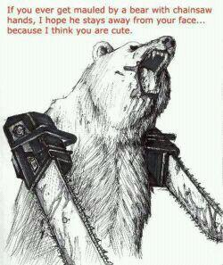 if you ever get mauled by a bear wielding dual-chainsaws, i hope your face survives