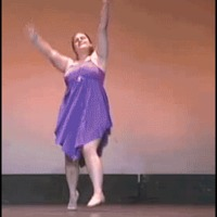 Fat girl falls during dance recital