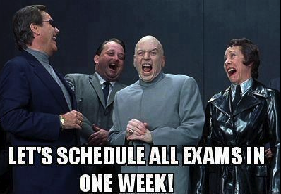 schedule all exams in one week