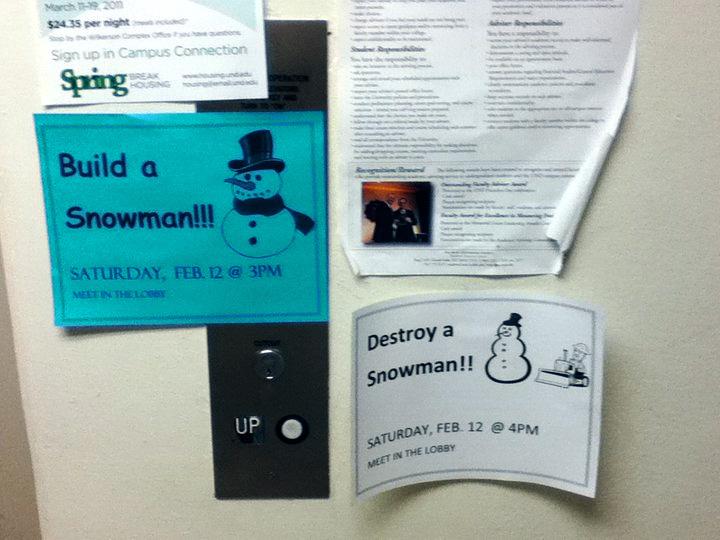 build a snowman, destroy a snowman