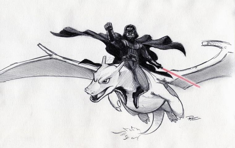 Darth Vader Riding Charizard