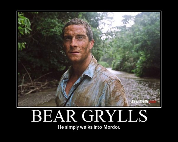 bear grills walks into mordor
