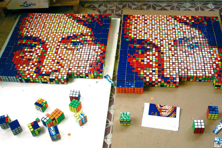 rubics cube portrait